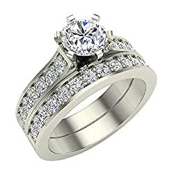 Wedding Ring set for women Diamond Bridal set 14K Gold w/band Gift Box Authenticity Cards 1.10 carat t.w. (J, I1)